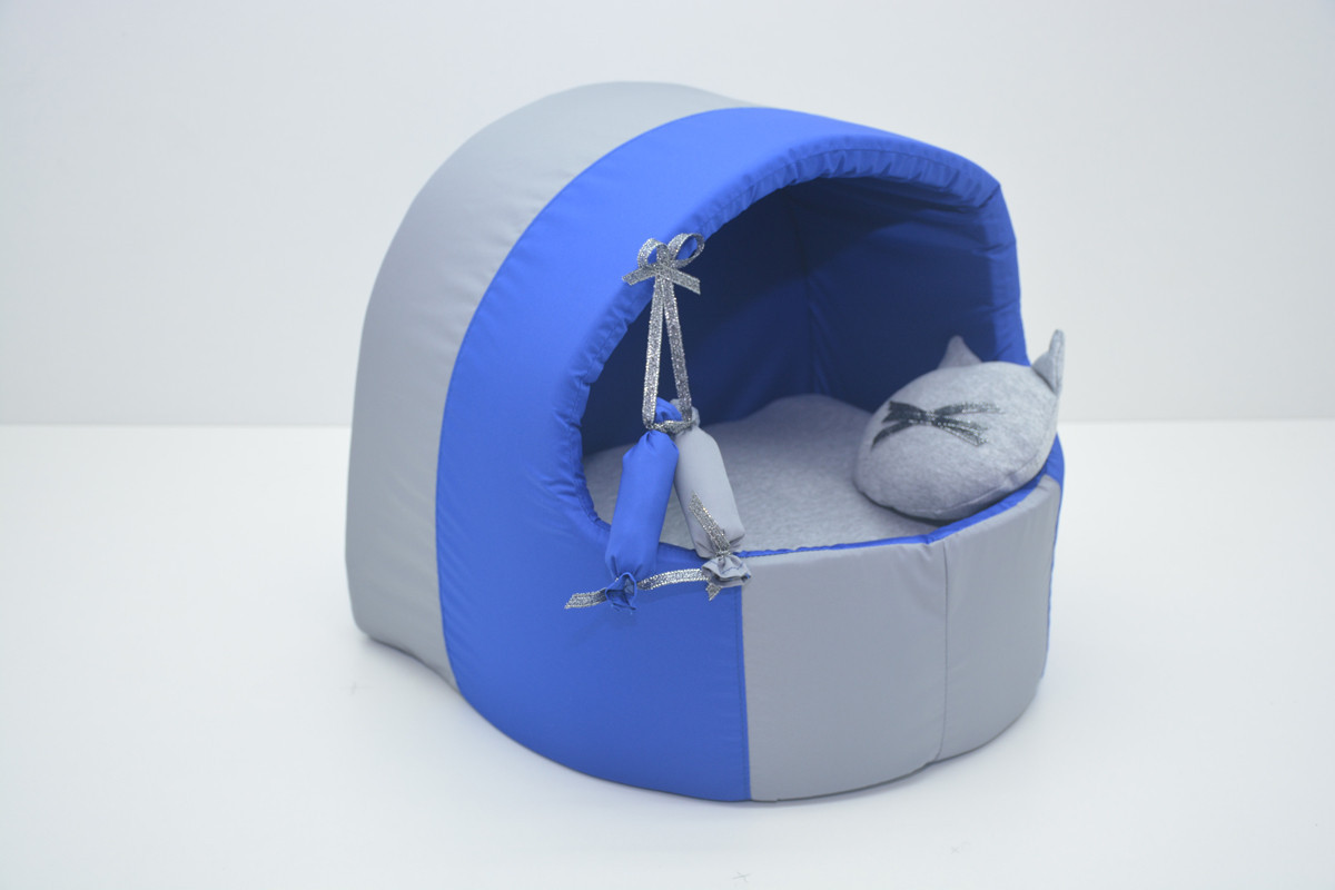 Будка для котов и собак Комфорт лето синяя №2 425х375х375