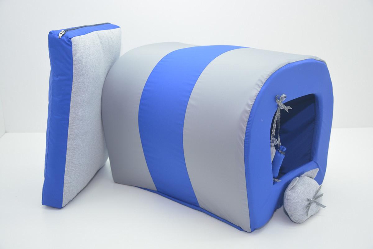 Будка туннель для собак и котов Комфорт лето синяя синяя мини 200х250х200