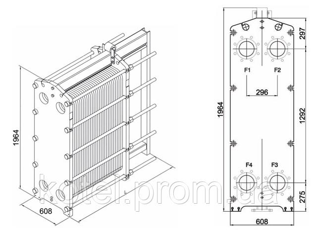 Размеры разборного пластинчатого теплообменника СТА-65