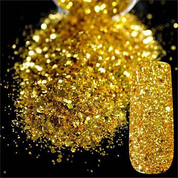 Глітер галографічний золотий - 80 грам