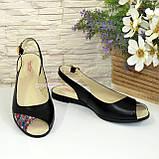 Женские черные кожаные босоножки с открытым носком и открытой пяткой, фото 2
