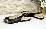 Женские черные кожаные босоножки с открытым носком и открытой пяткой, фото 4