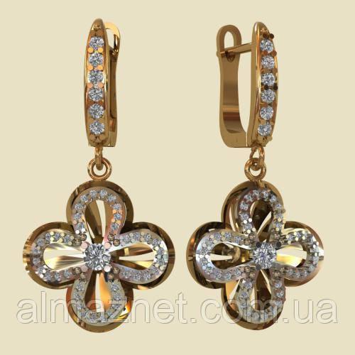 Золотые серьги-подвески Цветок Саксонский