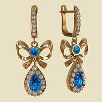 Золотые серьги-подвески Аквамарин