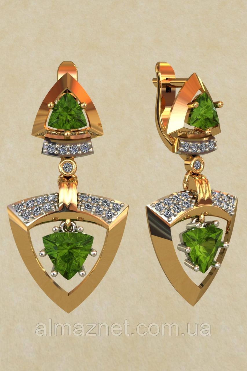 Золотые серьги-подвески Изумруд