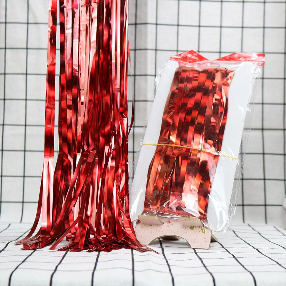 Занавес из фольги для оформления 1x2 м красный