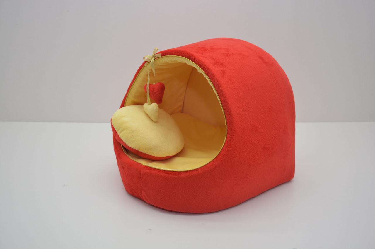 Будка для собак и котов Плюш красная №2 425х375х375
