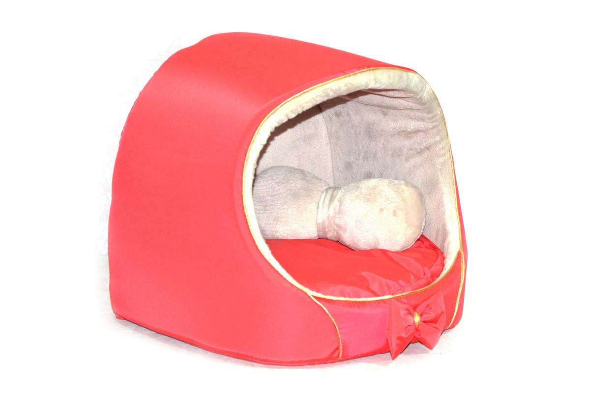 Будка для котов и собак VIP плюш красная №3 520х440х440