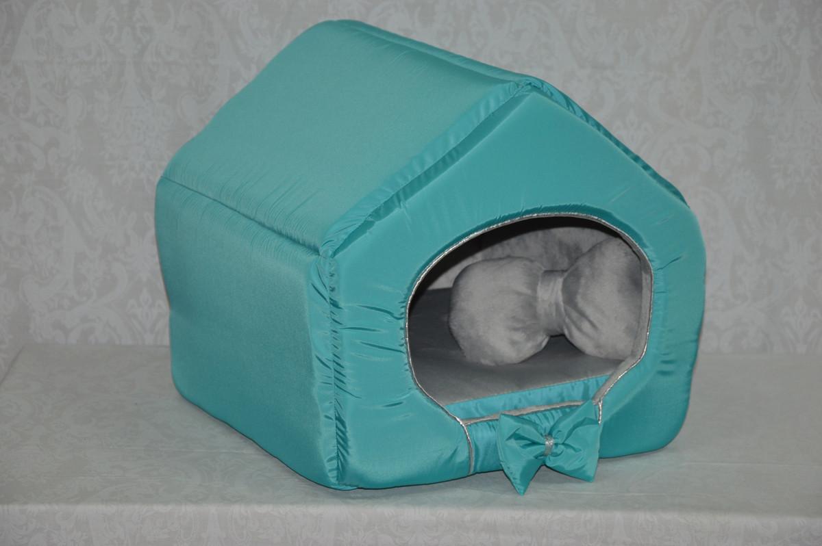 Домик для кошек собак VIP плюш бирюзовый №2 345х390х385