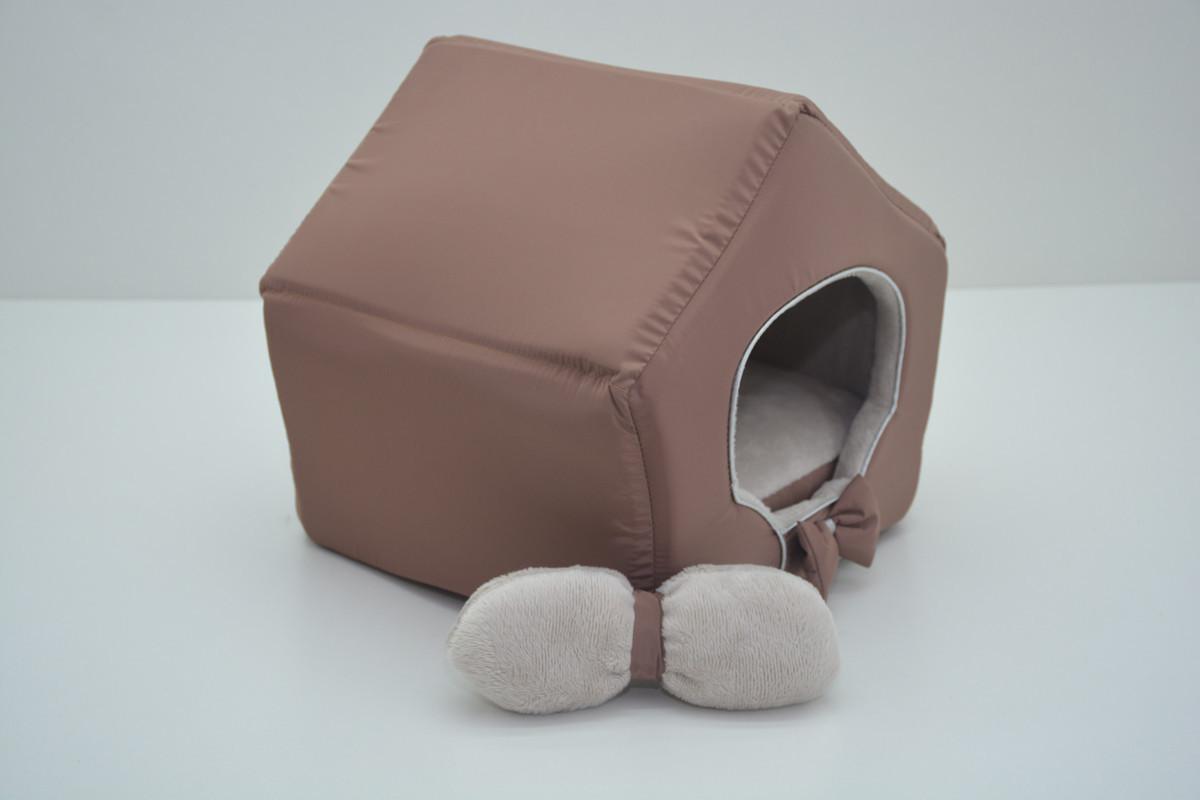Домик для кошек собак VIP плюш коричневый №3 385х480х430