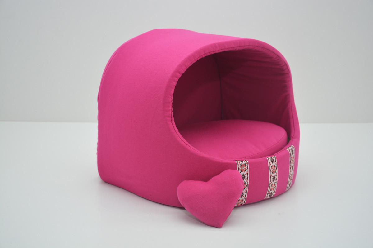 Будка для котов и собак Вышиванка розовая №3 520х440х440