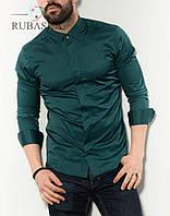 Мужская стильная рубашка с длинным рукавом, изумрудного цвета