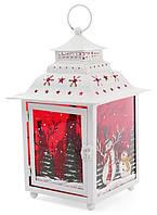 Новогодний фонарь-подсвечник Снеговики 18х18х28.5 см белый (psg_BD-808-002)