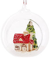 Набор 2 новогодние декоративные подвески Домик под ёлкой 10х8.9х10.5 см (psg_BD-827-432)