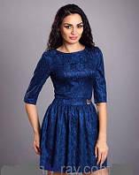 Выпускное платье синее Лора, 42-46р 44, Синий