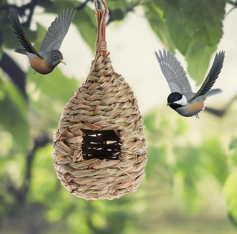 Гнездо - Домик для птиц,из специального плетеного волокна, кормушка для диких птиц