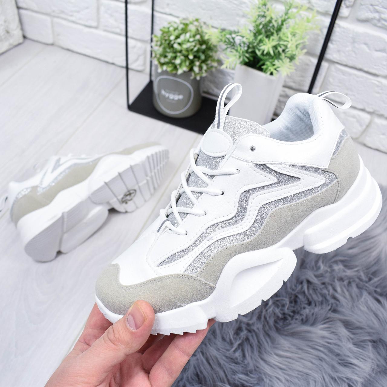 Кроссовки женские Dance белый + серый 6413