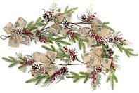 Декоративная гирлянда из искусственной хвои с шишками бантами и ягодами 152 см (psg_BD-879-201)
