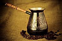 Медная джезва для варки кофе с гравировкой «Лошади» 500 мл