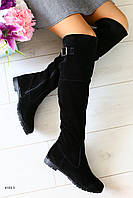 Зимние натуральные замшевые сапоги-ботфорты черного цвета  36
