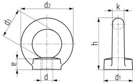 Описание: Гайка с кольцом DIN 582. Чертёж