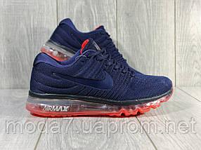 Кроссовки мужские синие Nike air max 2017 сетка реплика, фото 2