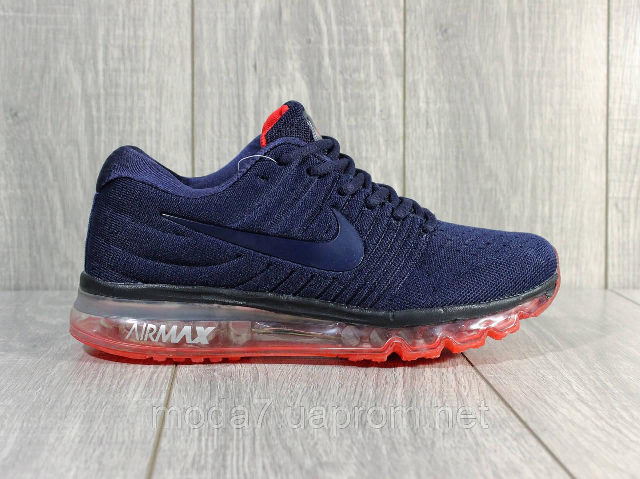 Кроссовки мужские синие Nike air max 2017 сетка реплика