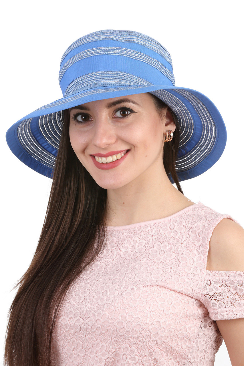 Панама летняя с широкими полями голубая