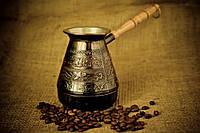 Медные джезвы для кофе на подарок с рисунком «Цветы»
