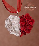 """Кулон сердце с цветами из полимерной глины  """"С любовью"""". Подарок любимой девушке на 14 февраля"""