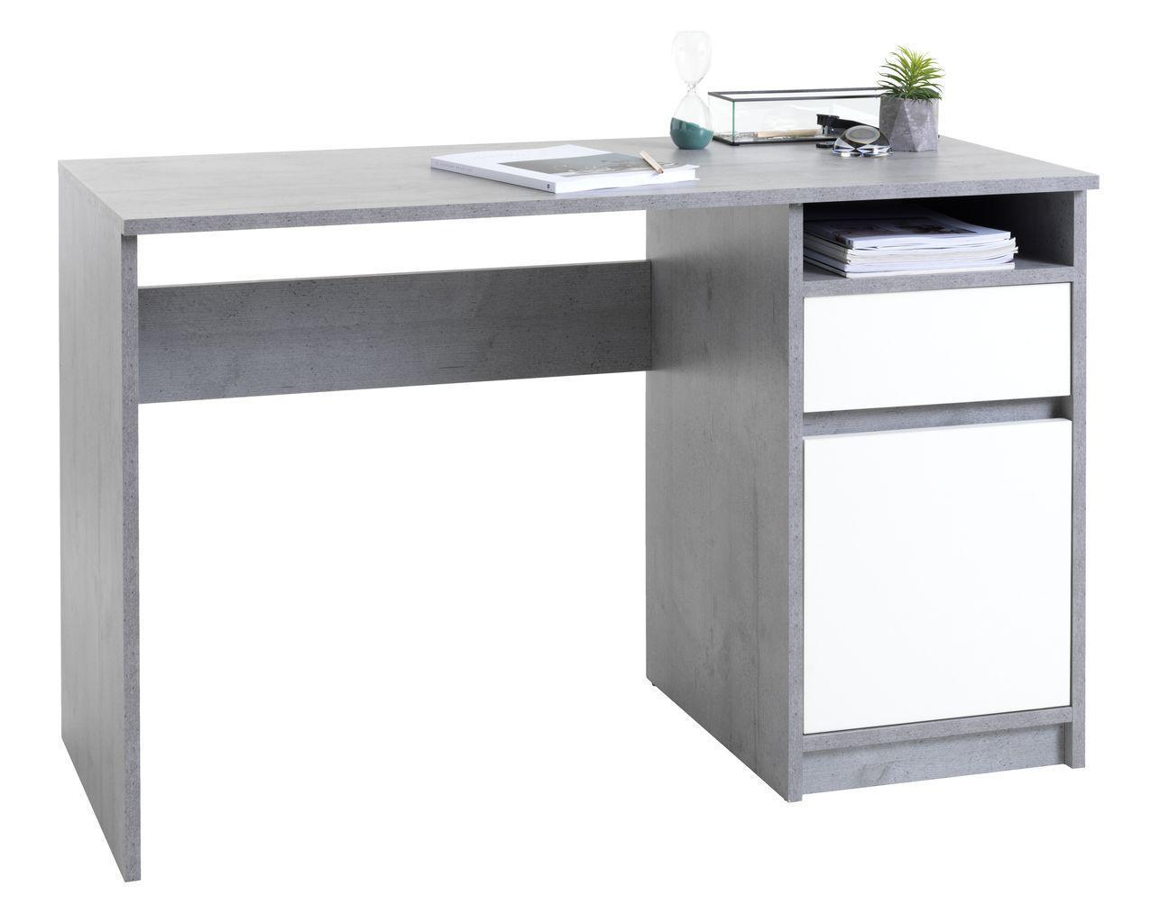 Стіл комп'ютерний бетон/білий сірий з білим