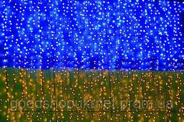 Гирлянда Curtain 1,5x2м (Штора) 400LED желто-синяя уличная