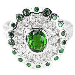 Серебряное кольцо с натуральным Хромдиопсидом и Cz