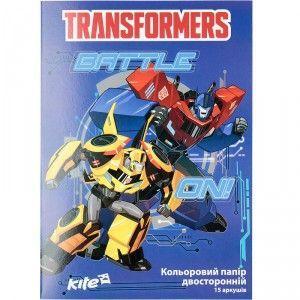 Цветная бумага двухсторонняя А4 Kite Transformers TF17-250 (15 листов)