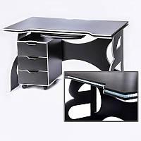 Компютерный стол с тумбой Barsky Game WHITE LED HG-06/CUP-06/ПК-01