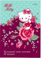 Цветная бумага неоновая двусторонняя Kite Hello Kitty 80 г/м² А4 10 листов 5 цветов (HK19-252)