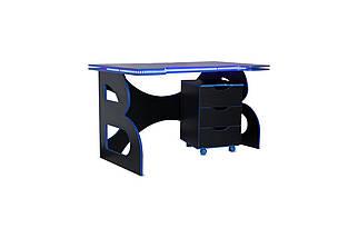 Стол с мобильной тумбой Barsky Game Blue