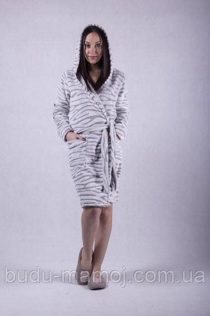 Женский теплый мягкий халат на запах с капюшоном