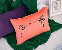 Подушка для влюбленных «Связь» флок, фото 1