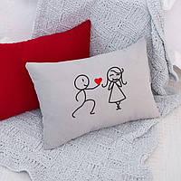 Подушка для влюбленных «Сердце в подарок»  флок, фото 1