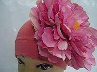 Шапочка кораловая с розовым пионом 18 см