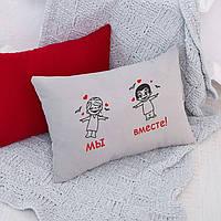 Подушка для влюбленных «Мы вместе»  флок, фото 1