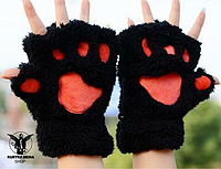 """Перчатки """"Кошачьи лапки"""". Черные."""