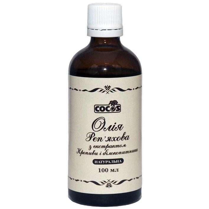 Косметична олія Cocos Реп'яхова з Кропивою і Білокопитником натуральна холодного віджиму 100 мл