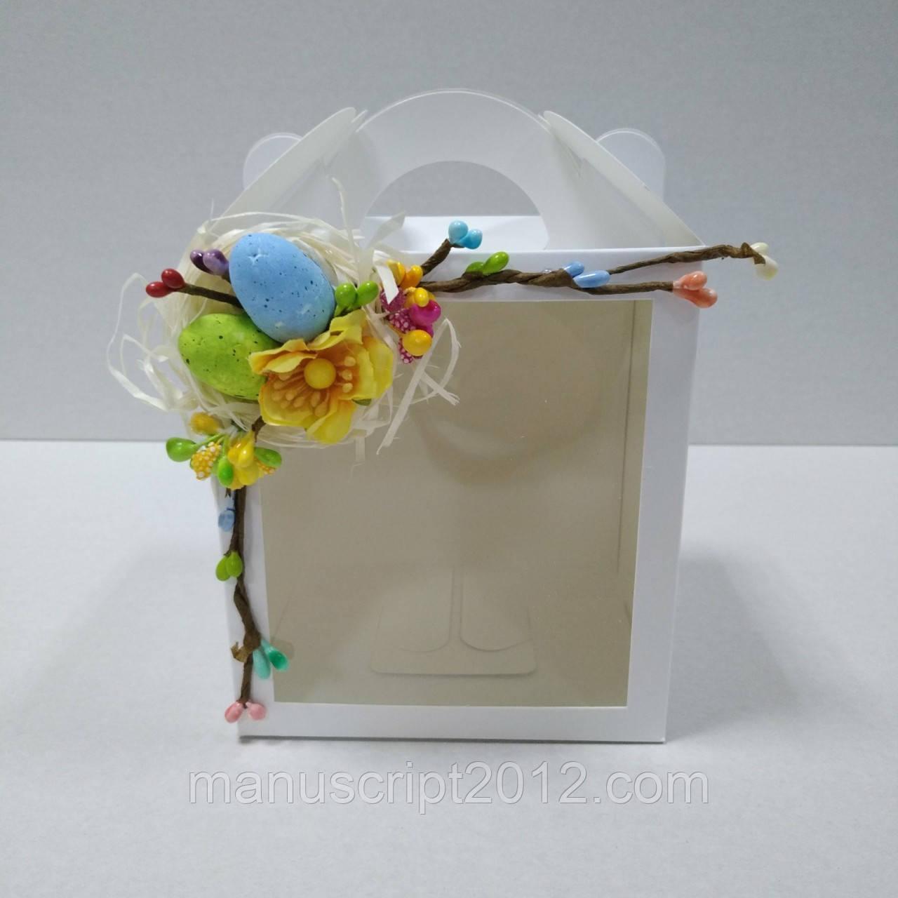 Коробка для кулича, пряничного домика, подарка 11,5х12х14 см. с декором