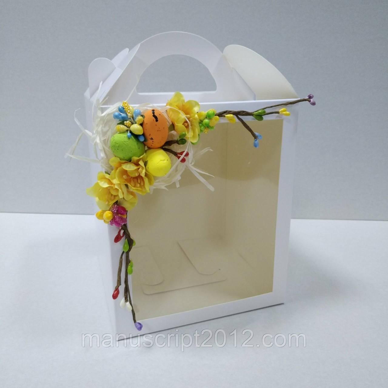 Коробка для кулича, пряничных домов и подарков с декором (160*160*190 мм)
