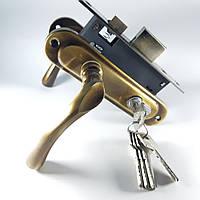 Комплект замка для входной и межкомнатной двери (ручки Cumru AB (старая бронза))