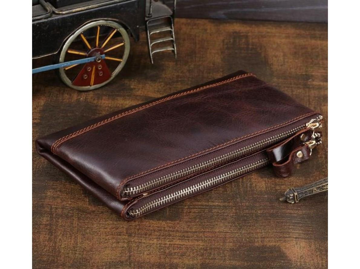 5f58301eb00d Стильный мужской портмоне Клатч из натуральной кожи коричневого цвета  TIDING BAG 8027C