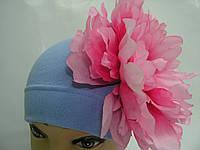Шапочка голубая с розовым пионом 20 см