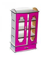 Шкаф книжный (бело-розовый)